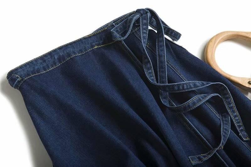 Lace up high waist side split a line denim skirt