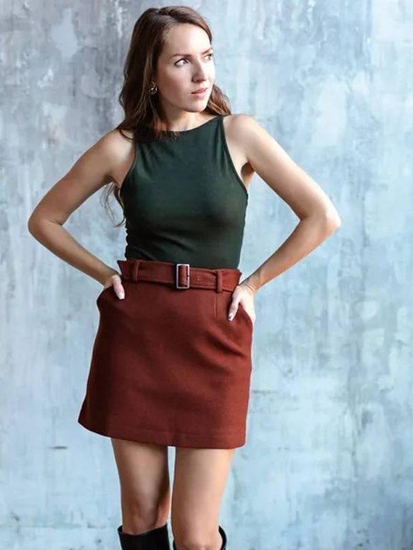 High waist belt a-line skirt