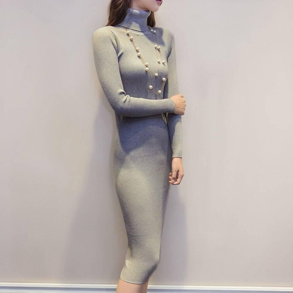 Elastic turtleneck long sleeve sweater knitted dress