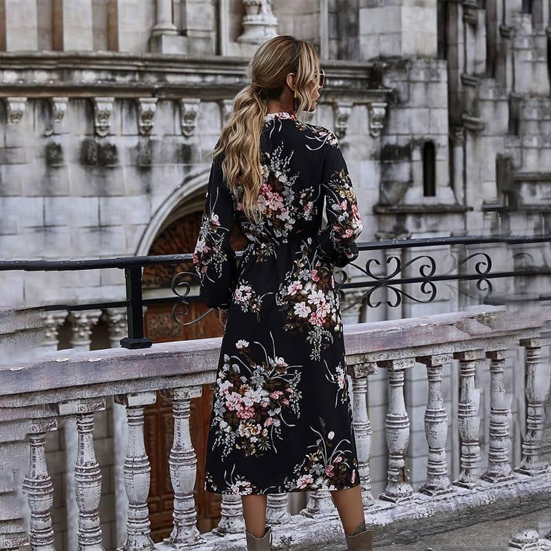 Floral bow puff sleeve stand collar high waist long sleeve dress
