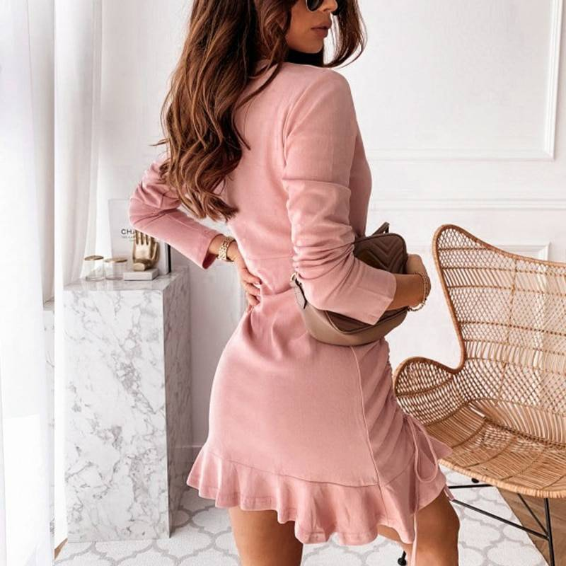 Pink lace up long sleeve ruffles ruched dress