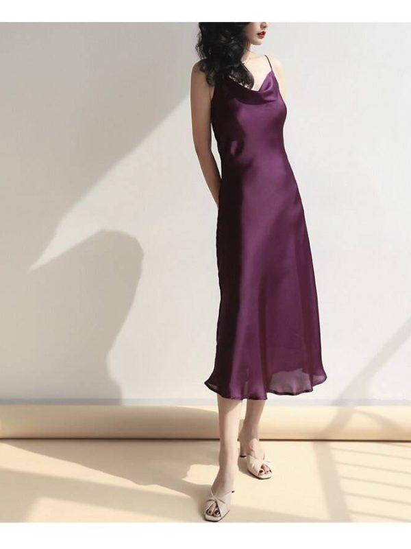 Elegant satin purple pink white spaghetti strap party dress