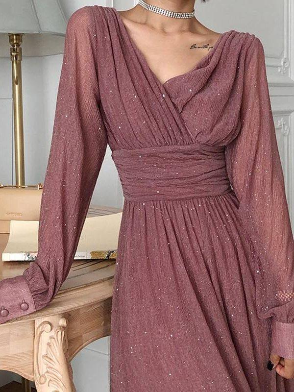 Vintage glitter high waist long sleeve boho maxi dress