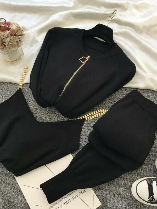 Knitted vest zipper cardigan pants 3pcs set