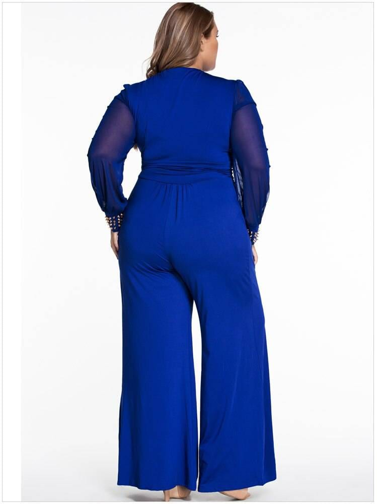 High waist v-neck long-sleeve flared wide leg lace loose jumpsuit