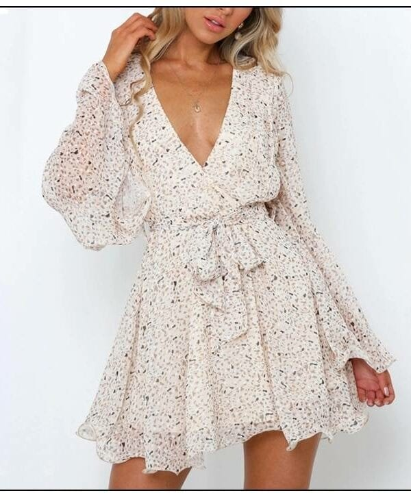 Beige deep v-neck flare sleeve transparent back sashes dress