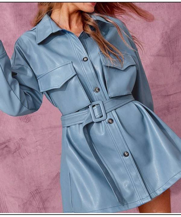 Blue pu leather single buckle short dress with belt oversized jacket