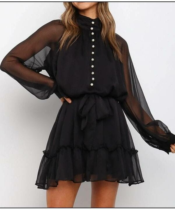 Black high neck a-line long sleeve chiffon mini dress