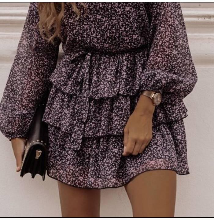 Floral print lantern sleeve ruffles office dress