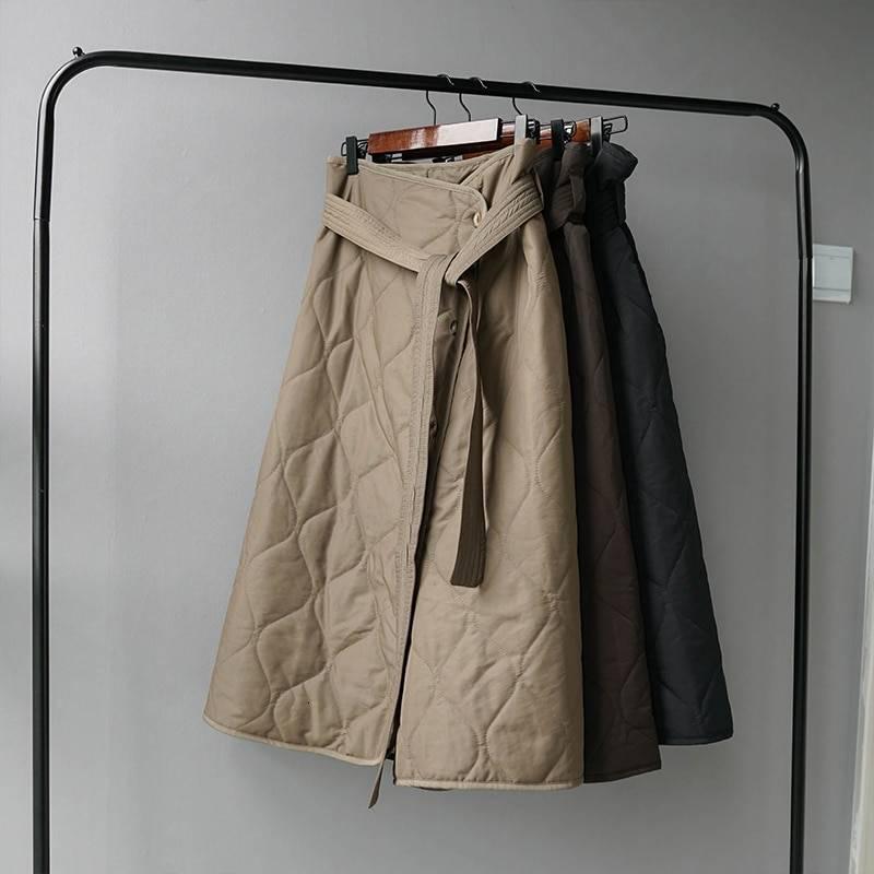 Winter high waist asymmetrical button long skirt
