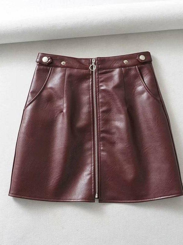 Front zipper high waist leather mini skirt