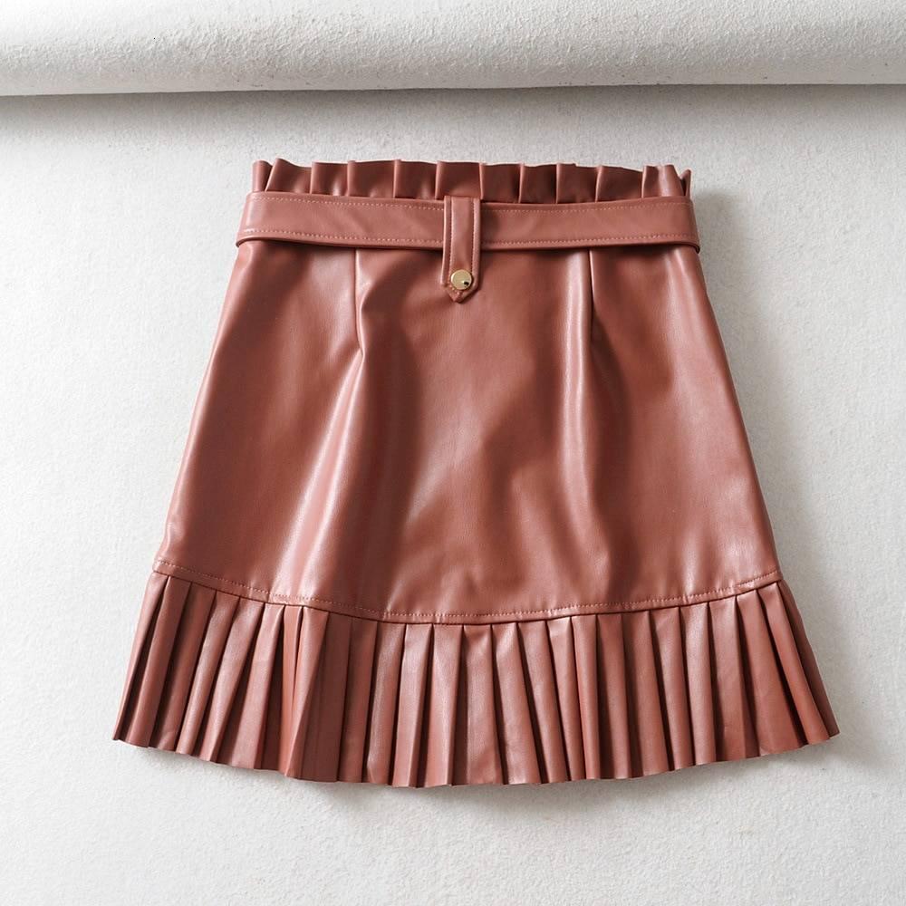 Pu leather high waist pleated hem mini skirt