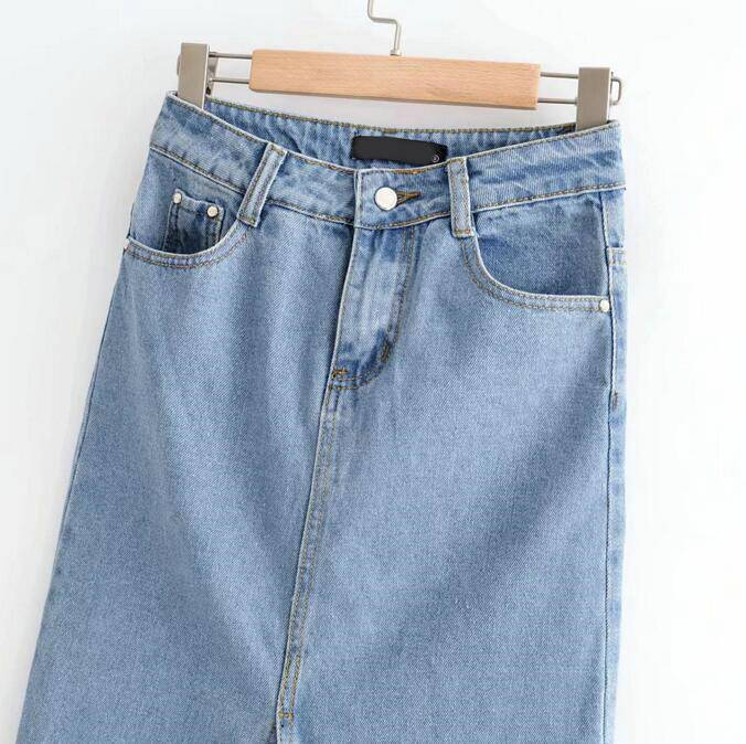 High waisted split midi light blue denim skirt