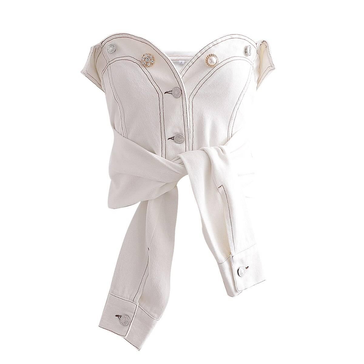 White denim strapless pearls button tube top