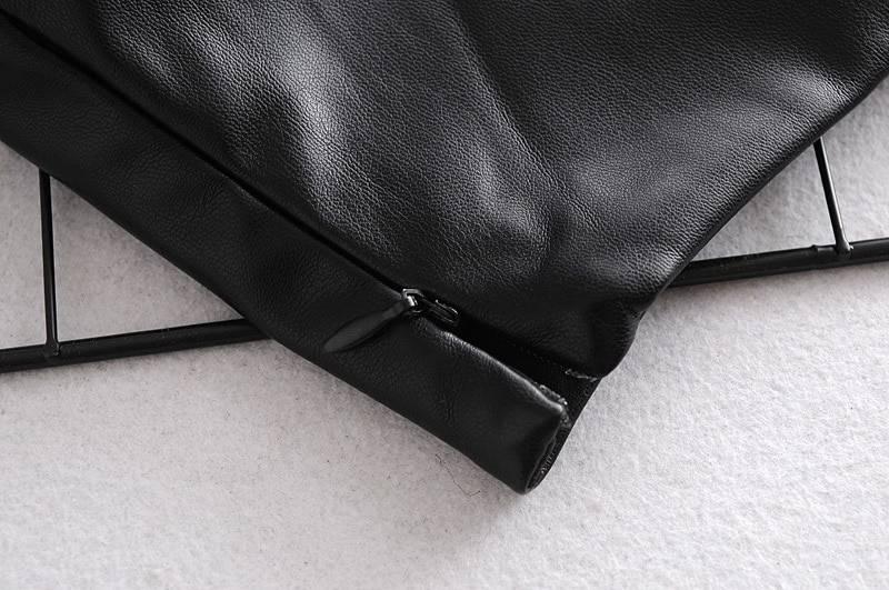 Black leather sleeveless cami top