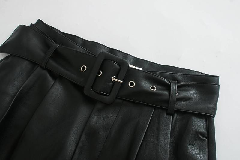 Leather belted shorts