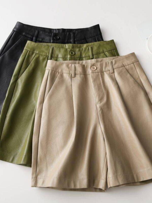 Pu leather high waisted loose shorts