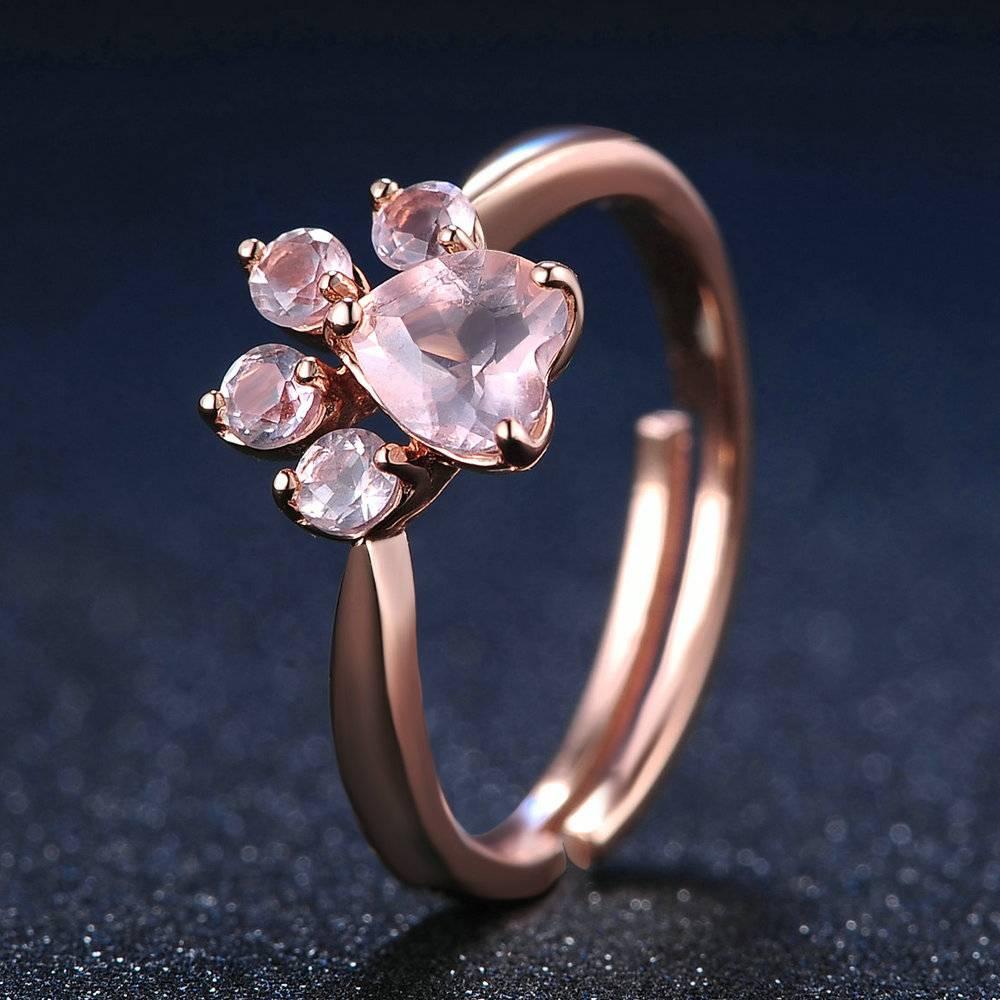 Pink paw rose quartz ring