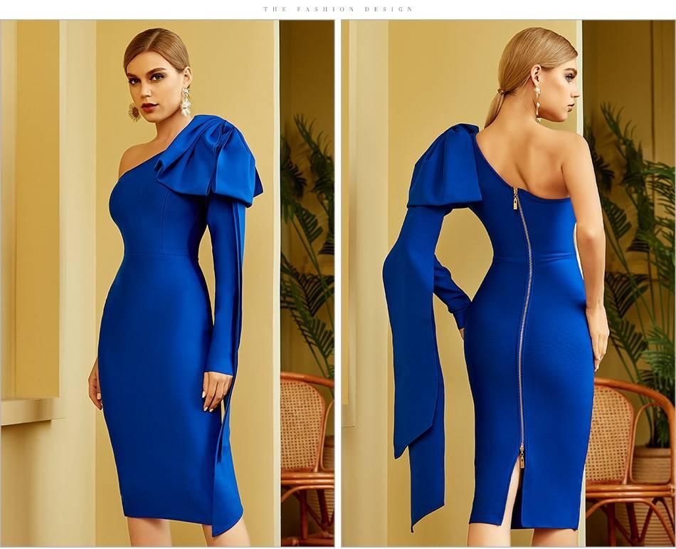 One shoulder bow long sleeve midi bodycon bandage dress