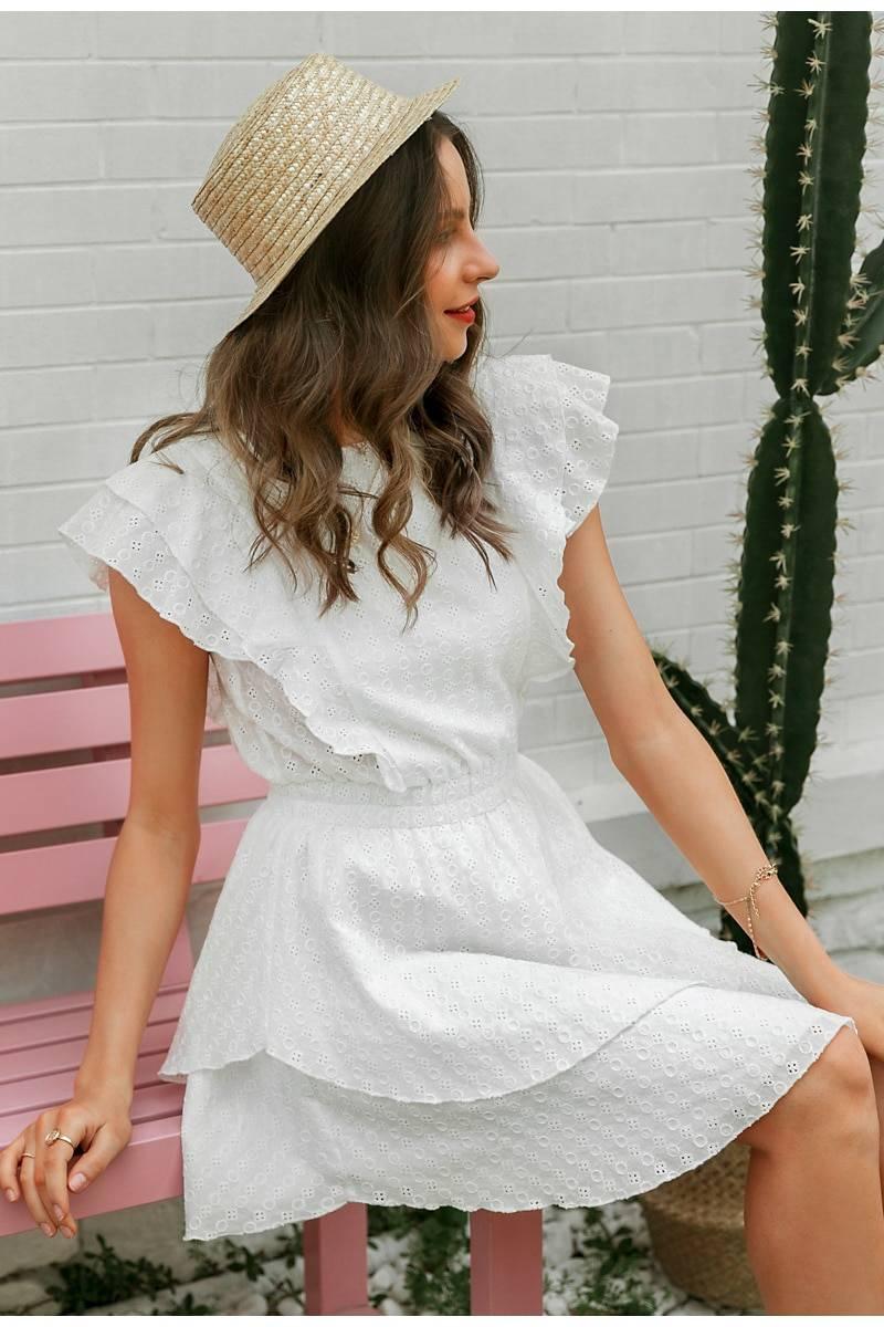 Elegant crew neck high waist sleeveless lace ruffle boho dress