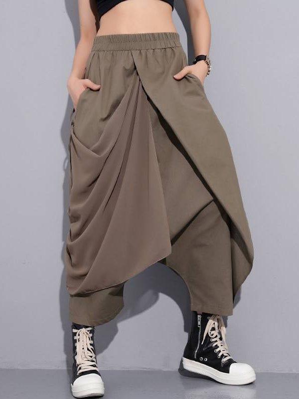 High elastic waist black fold bandage stitch loose long cross-pants