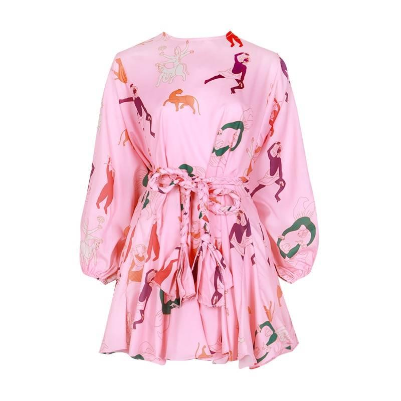 Color print long sleeve o neck high waist lace up dress
