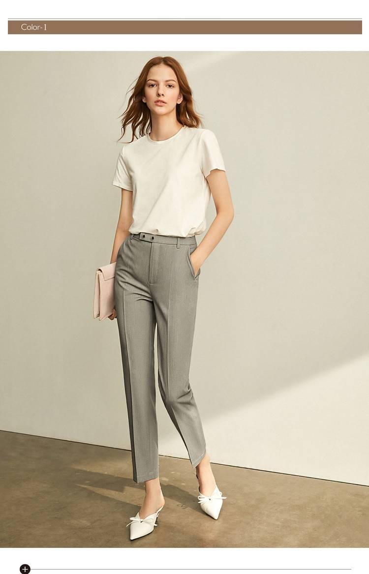 Office loose high waist straight women suit pants