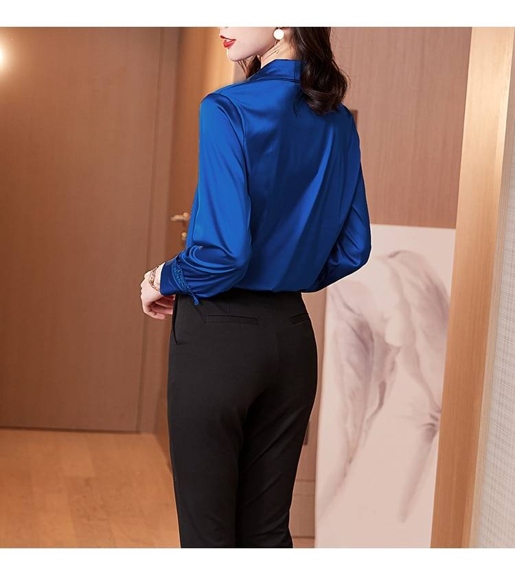 Korean Silk Women Shirts Women Satin Blouses Elegant Office Lady Long Sleeve Blouses Lace Shirt Plus Size Blusas Mujer De Moda