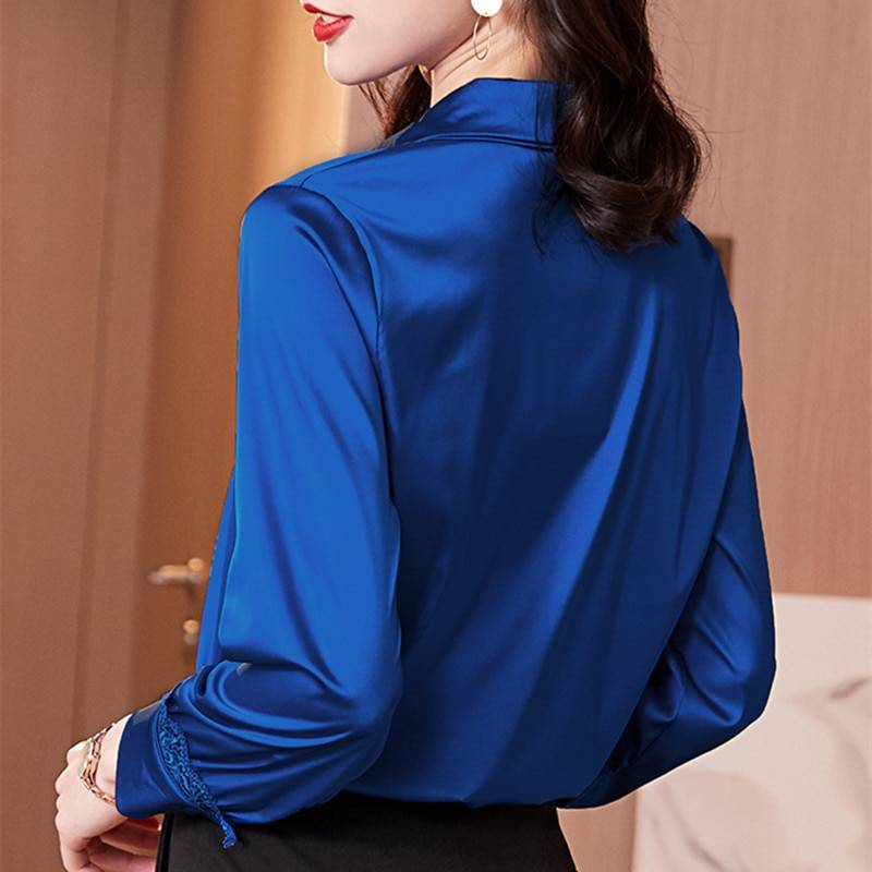 Elegant satin long sleeve lace office shirt