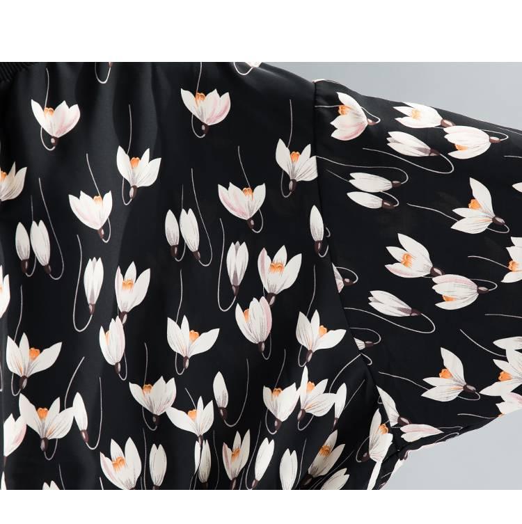 Elegant floral loose batwing sleeve blouse shirt