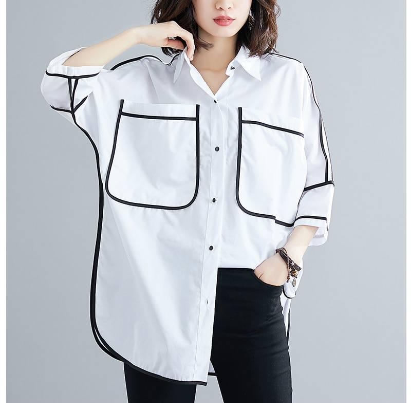 Cotton loose office blouse shirt