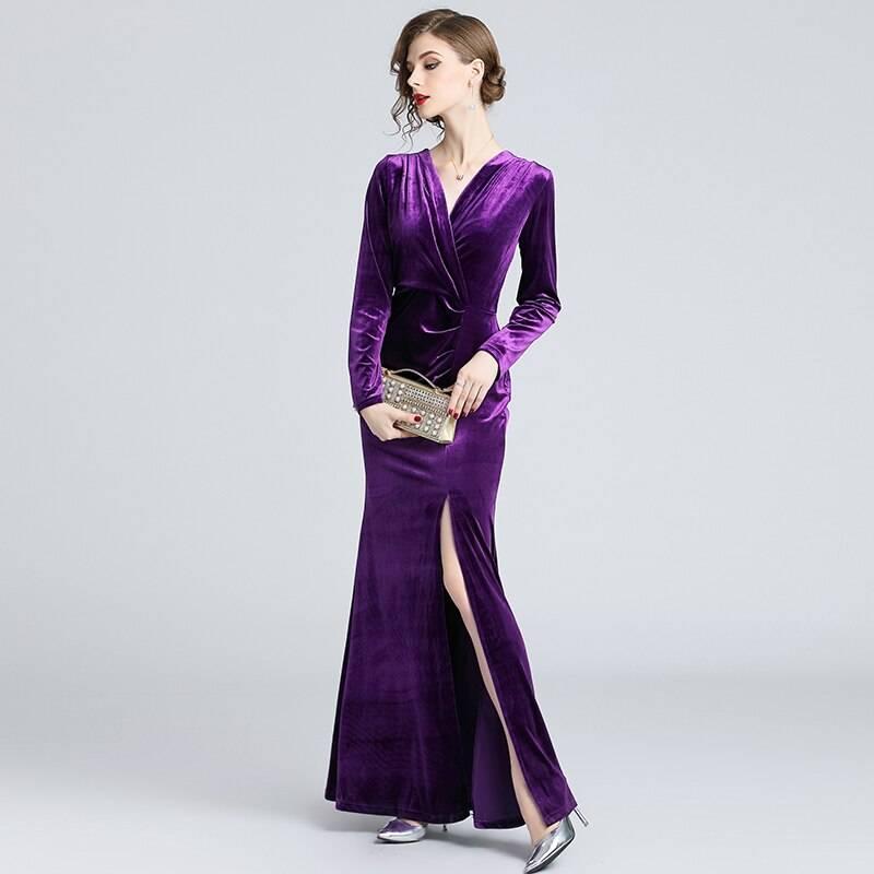 Vintage long sleeve velvet long maxi dress
