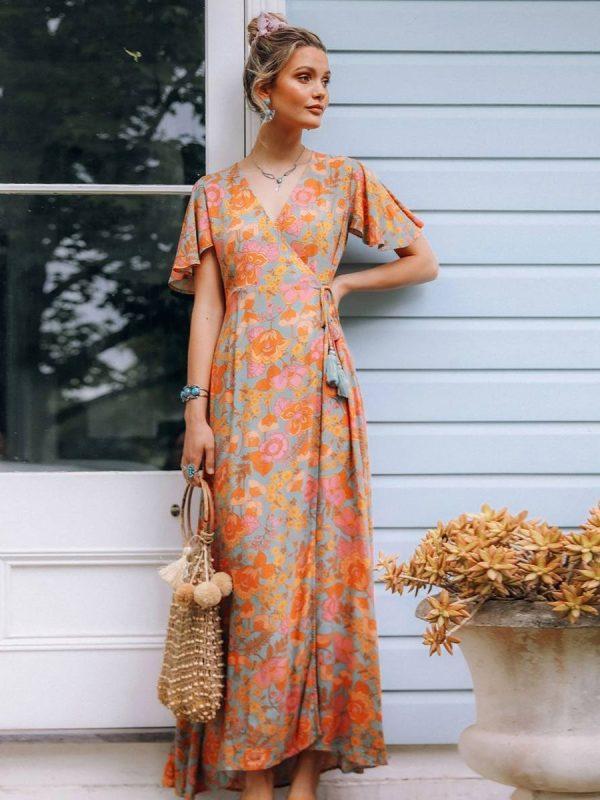 Vintage floral print high waist wrap hippie beach boho dress