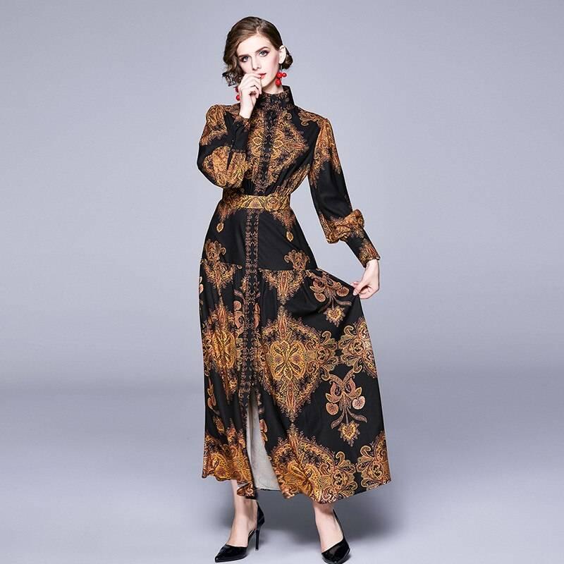 Vintage lantern sleeve floral print maxi dress