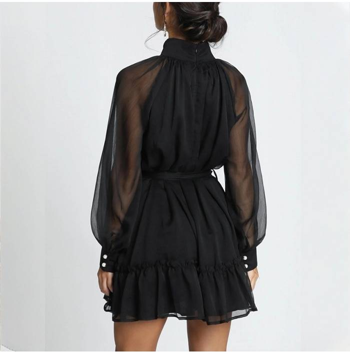 Elegant black turtleneck a line long sleeve button ruffle chiffon dress