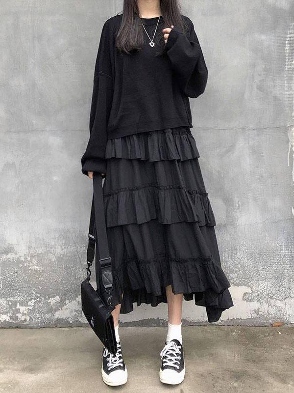Goth lolita high waisted asymmetrical high low ruched ruffle skirt