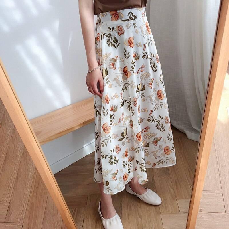 High waist floral print chiffon midi skirt