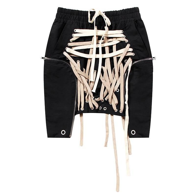 High waist patchwork asymmetrical bandage mini skirt