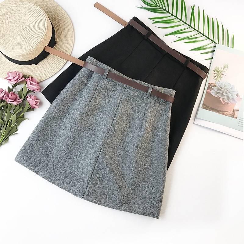 Vintage high waist a-line office skirt with belt