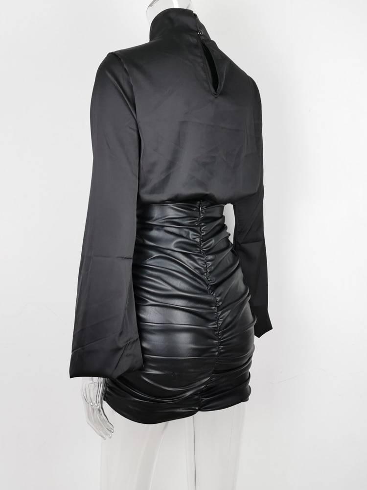 Pu leather ruched high waist black short mini bottom stretch skirt