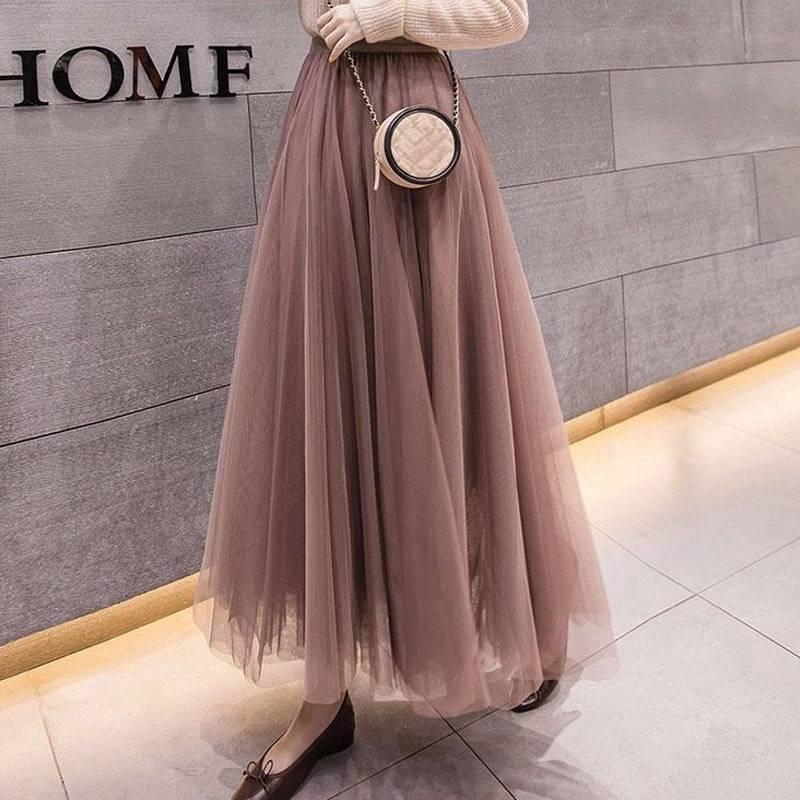 Elastic high waist mesh midi pleated tulle skirt