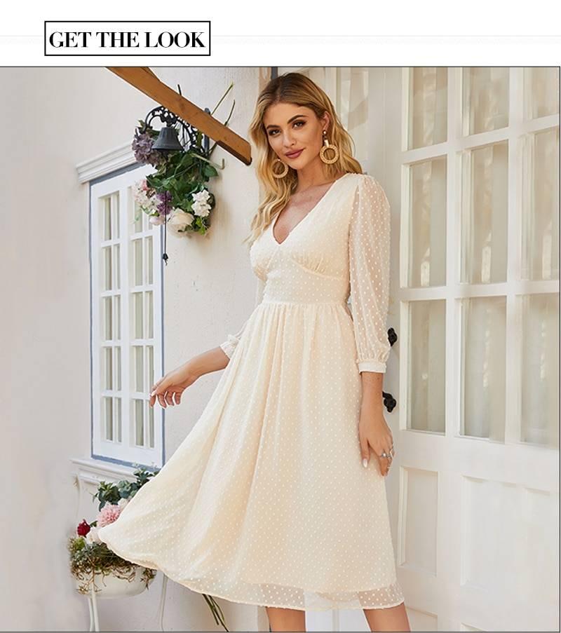 Elegant v-neck chiffon midi dress