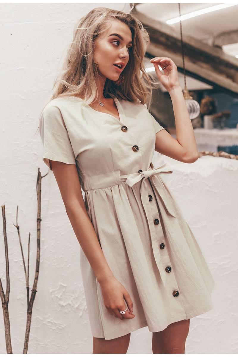 Vintage buttons v neck short sleeve cotton office dress