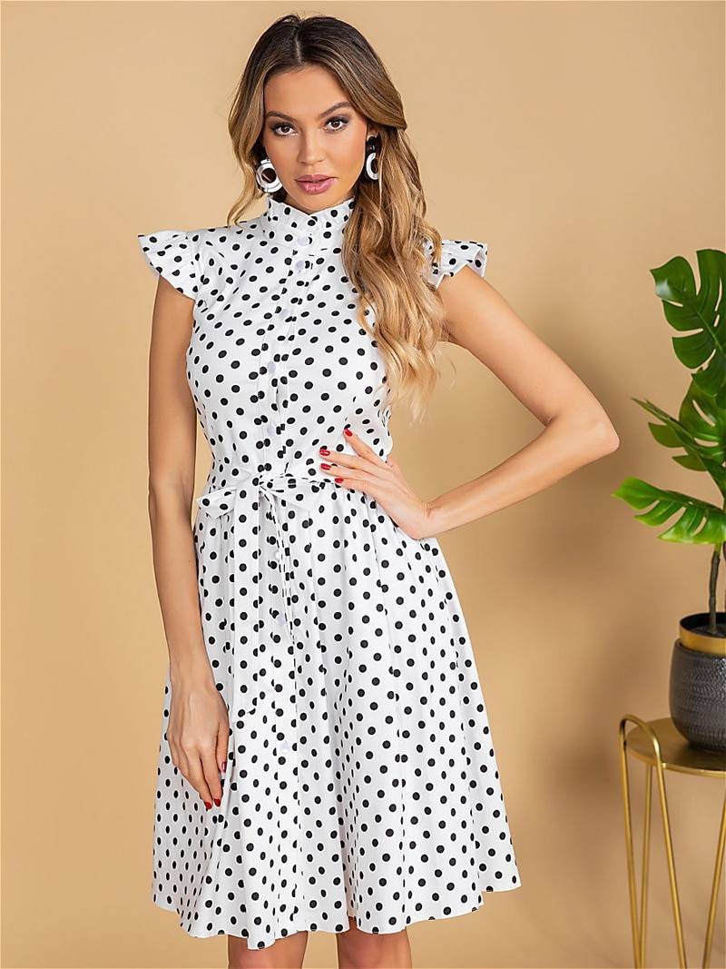Vintage ruffles stand collar polka dot print single breasted sashes a line mini dress
