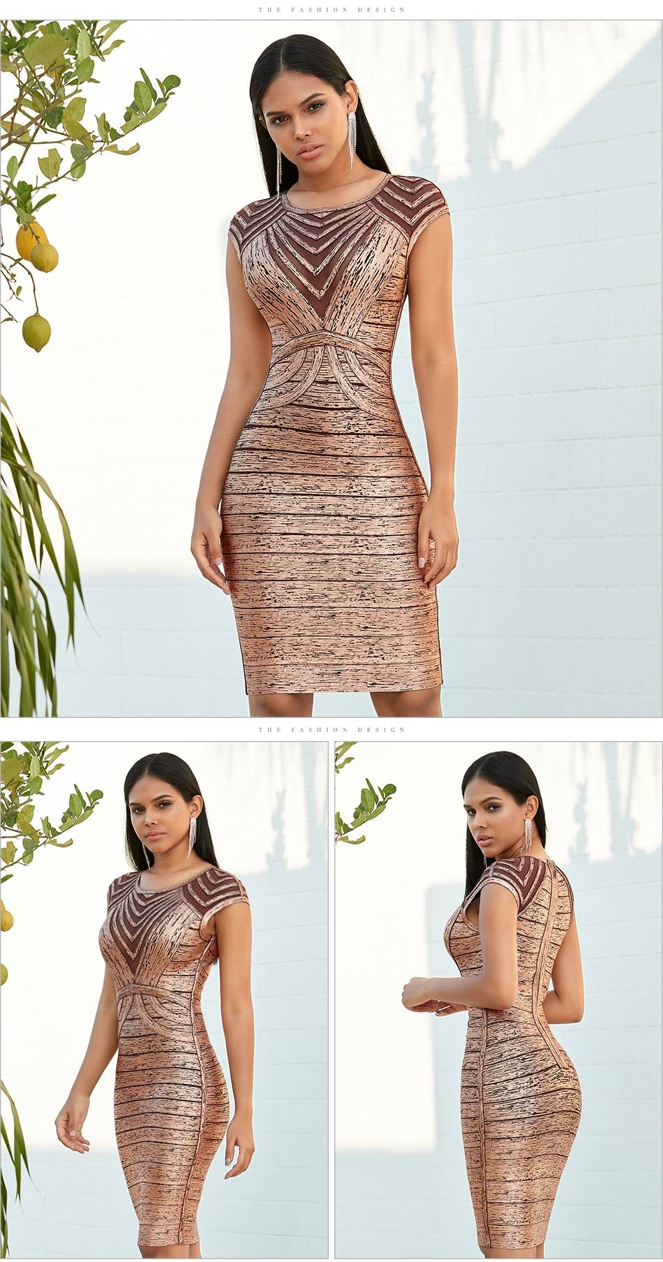 Green lace hollow out bodycon bandage dress
