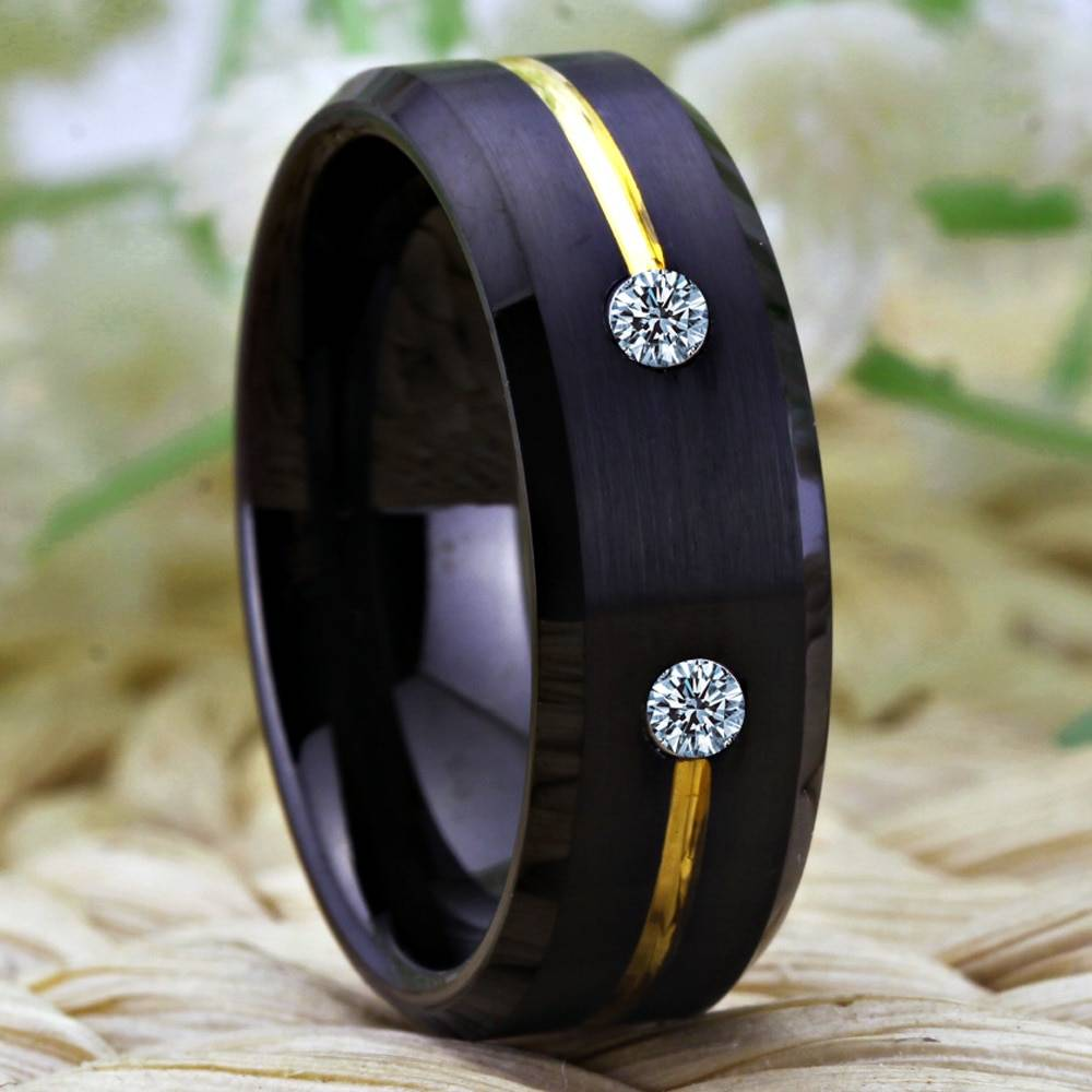 Tungsten Ring Golden Groove Ring 2
