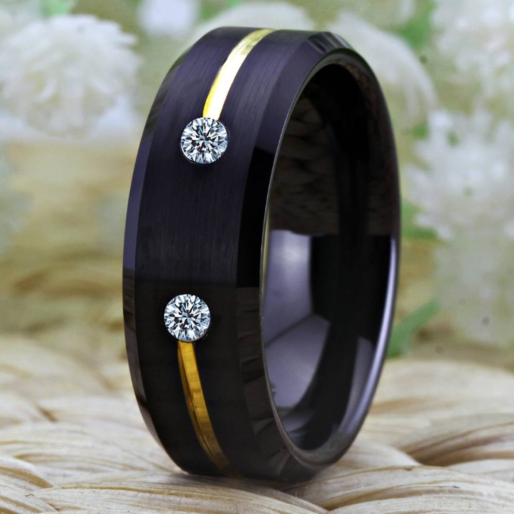 Tungsten Ring Golden Groove Ring 1