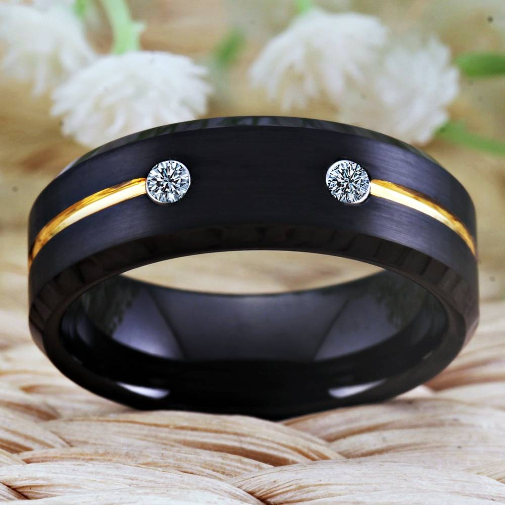 Tungsten ring golden groove ring