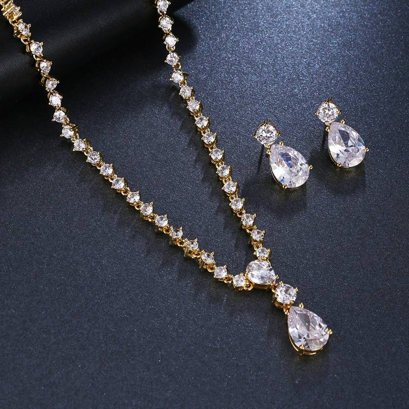 Cubic zirconia crystal earrings necklace wedding jewelry set