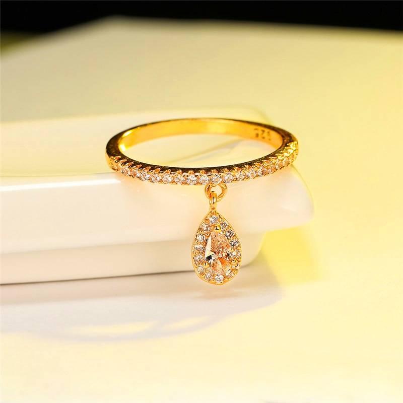 Water drop pendant white zircon crystal boho ring